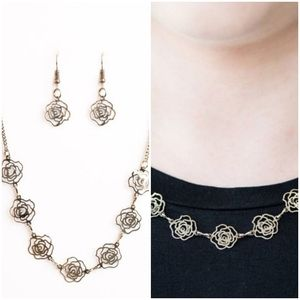 A RARE ROSE BRASS NECKLACE/EARRING SET